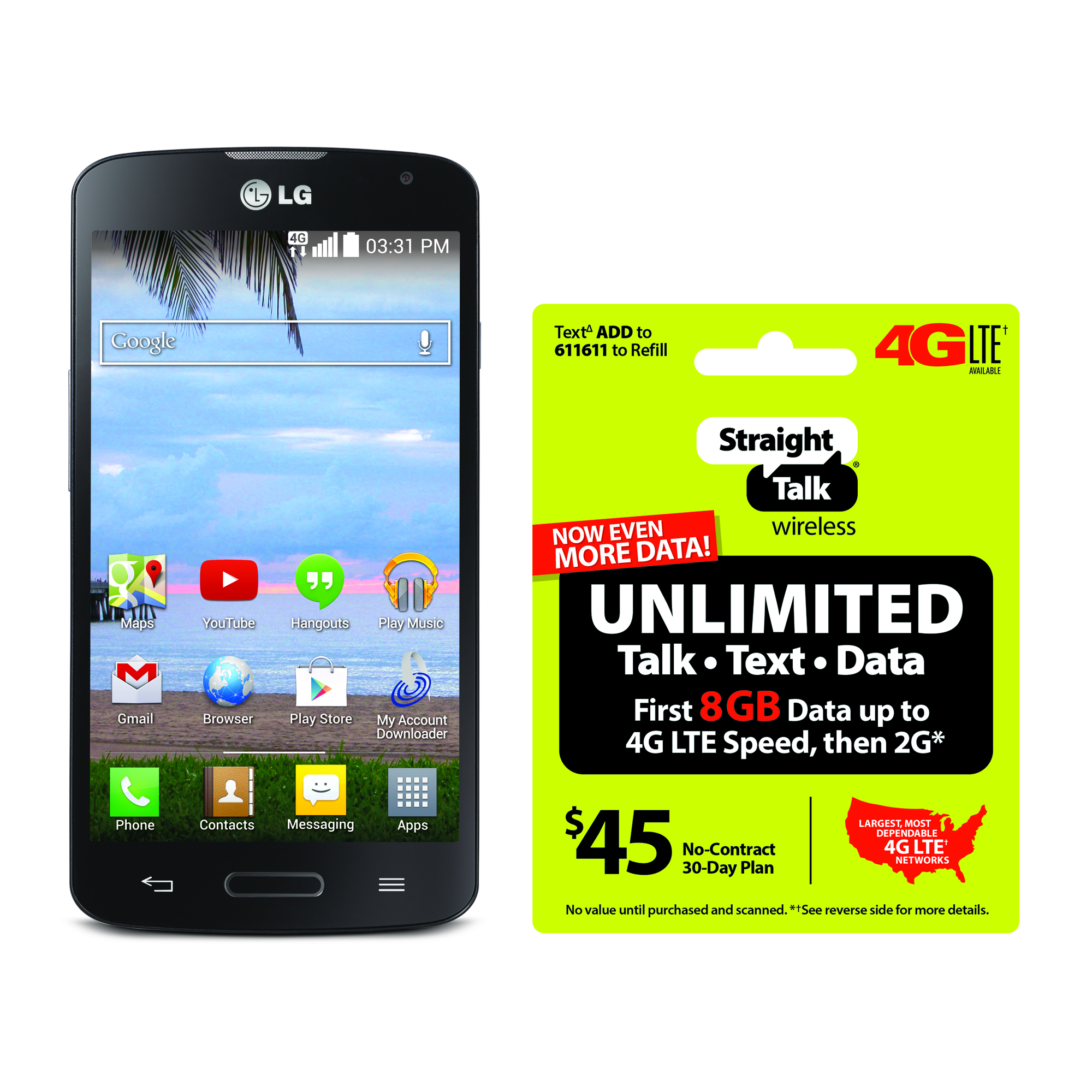 Refurbished Straight Talk LG Access 4G LTE Android Prepaid Smartphone with BONUS $45/30-Day Plan