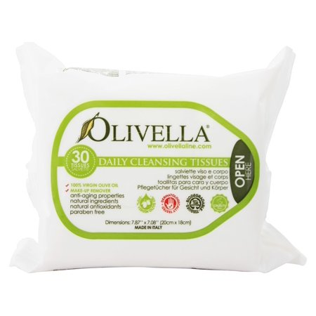 Olivella Daily Facial Cleansing Tissues, 30 Ct