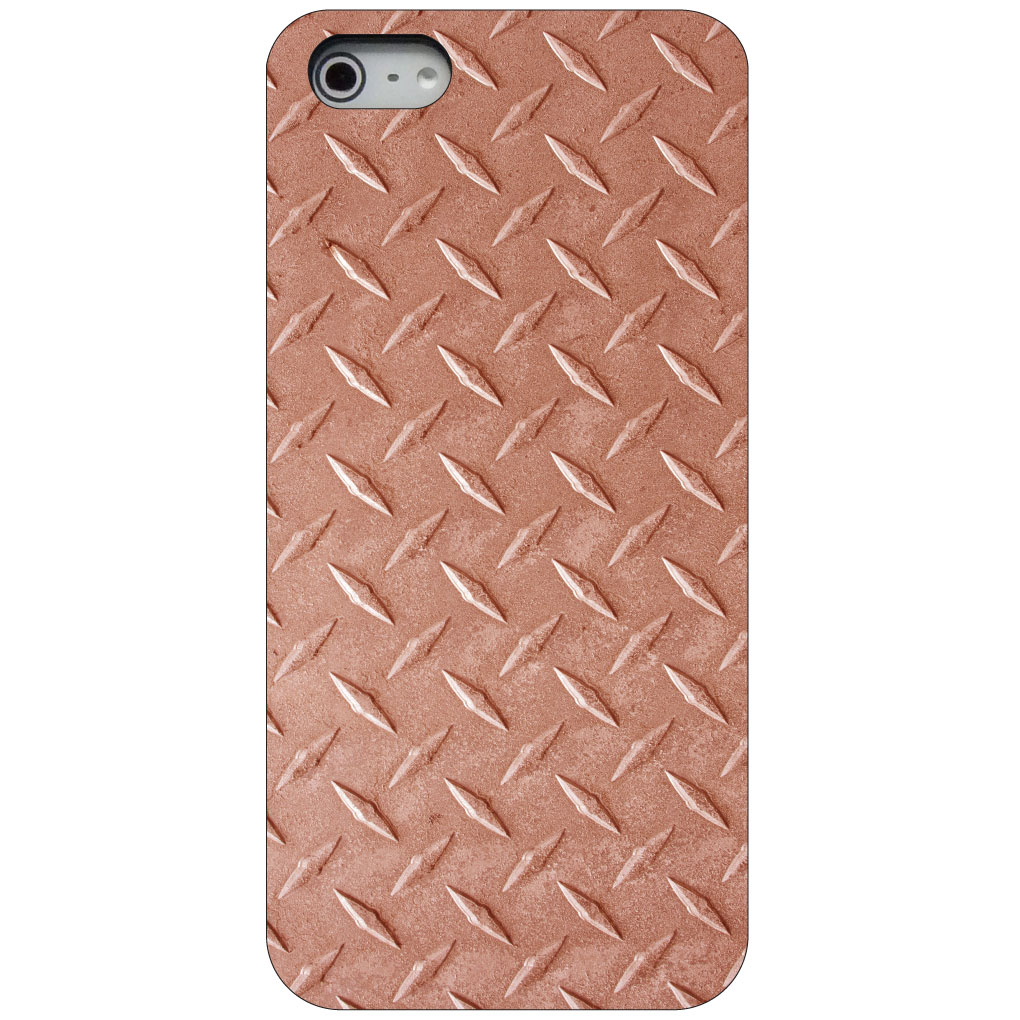 CUSTOM Black Hard Plastic Snap-On Case for Apple iPhone 5 / 5S / SE - Orange Diamond Plate Steel