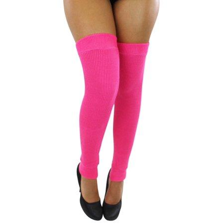 Neon Pink Leg Warmers (Hot Pink Ribbed Knit Thigh High Dance Leg)