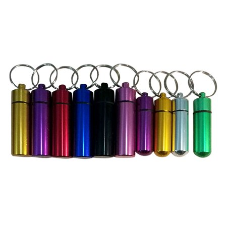 Mini Waterproof Pill Box/Case, Portable Outdoor Aluminum Pills Bottle, Stash Holder with Keychain