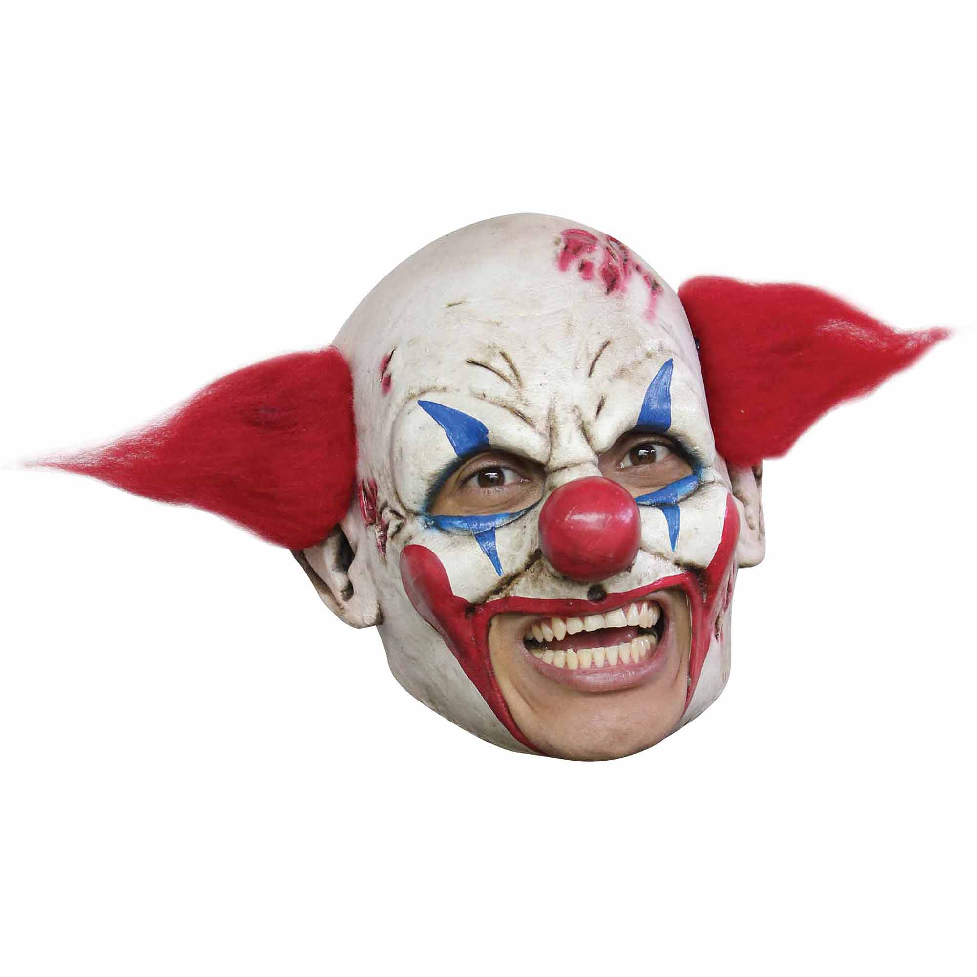 Clown Deluxe Chinless Mask with Red Hair Adult Halloween Accessory