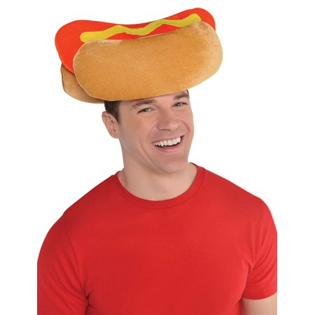 Hot Dog Mens Adult Funny Plush Hat Food Costume - Mens Dog Costume