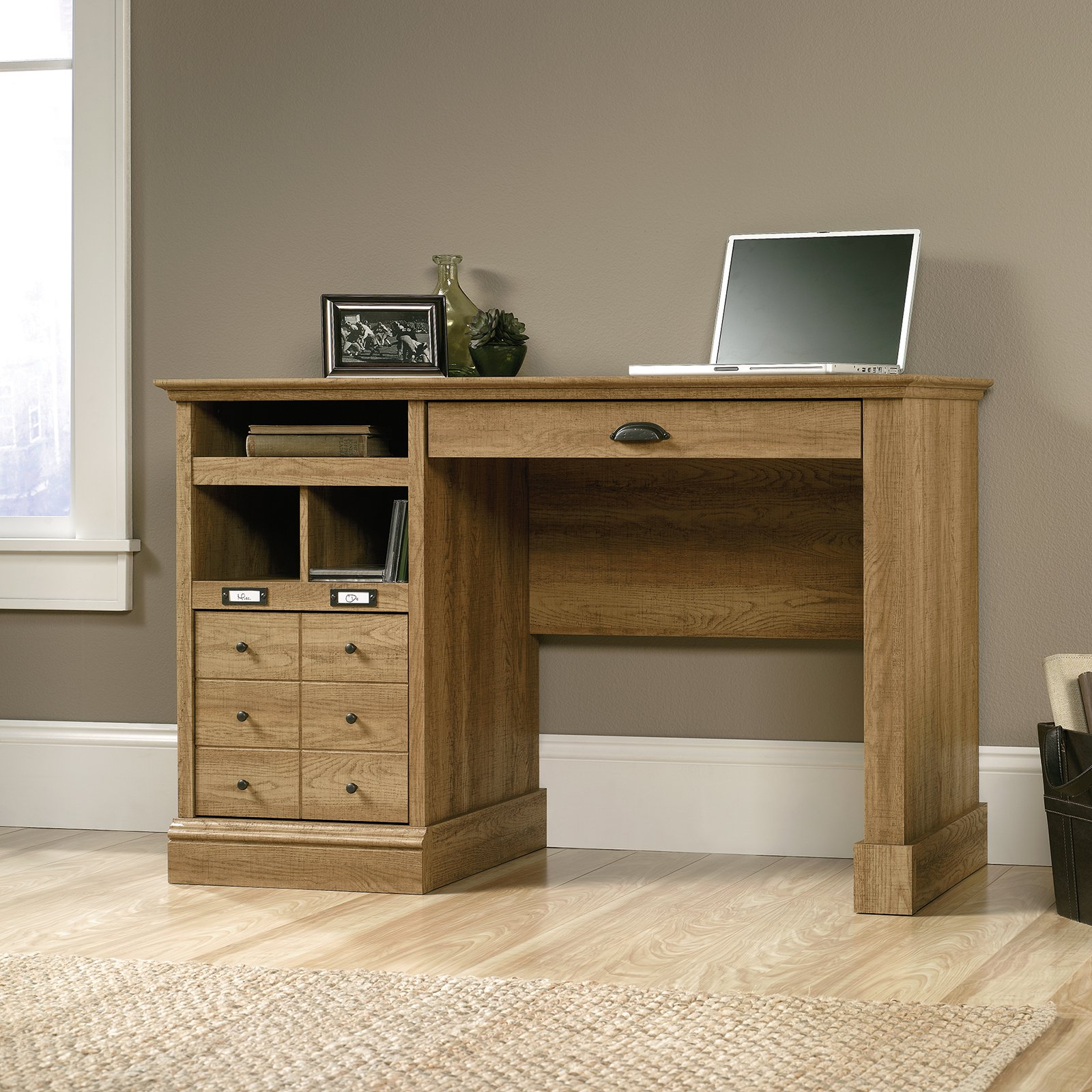 Sauder Barrister Lane 1-Drawer Desk Scribed Oak by Sauder