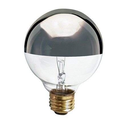 - Satco S3862 - 60 Watt Light Bulb - G25 Globe - Clear Silver Bowl - 1,500 Life Hours - 512 Lumens - 120 Volt