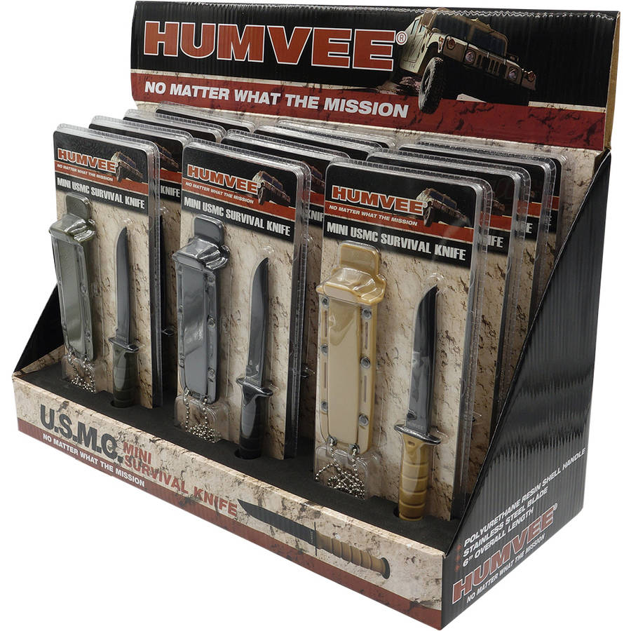 "USMC Survival Knife with 12-Piece Display, Humvee, 3.5"" Fixed Blade"
