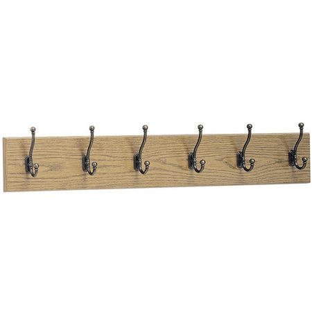 Safco, SAF4217MO, 6-Hook Wood Wall Rack, 1 Each, Oak Base,Brass Hook