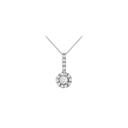Fancy Round Cubic Zirconia Halo Pendant in 14K White Gold - image 2 de 2