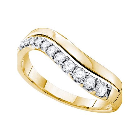 14kt Yellow Gold Womens Round Diamond Curved Single Row Band 1/3 Cttw - image 1 of 1