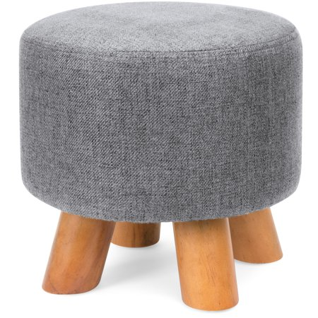 Best Choice Products Upholstered Padded Lightweight Pouf Ottoman Footrest Stool w/ Removable Linen Cover, Non-Skid Wooden Legs, 440lbs Weight Capacity - Gray