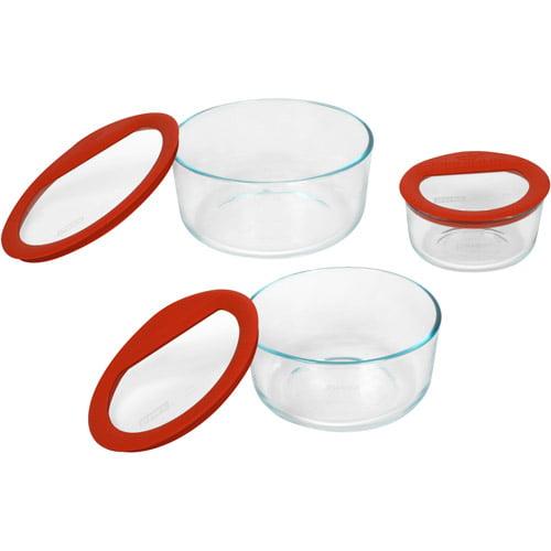 Pyrex No-Leak Glass 6-Piece Storage Set