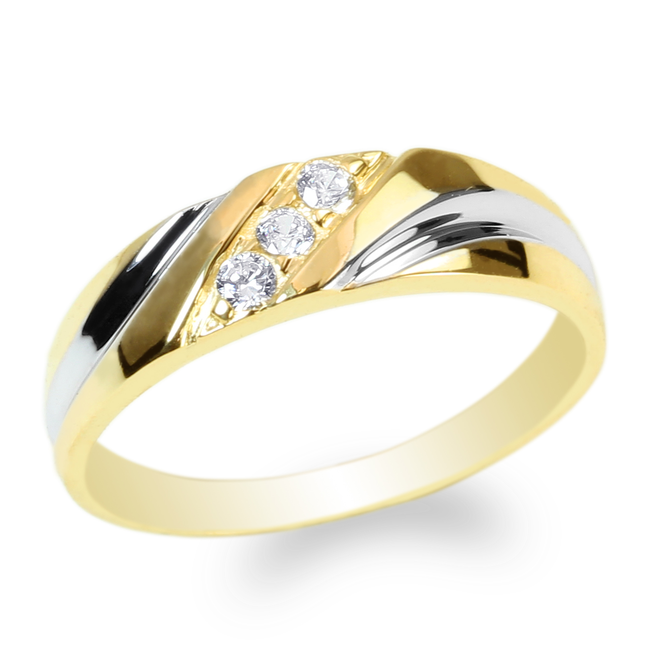 JamesJenny Ladies 14K Yellow Gold Round Cubic Zirconia Beautiful Two Tone Wedding Band Ring Size 4-10 by