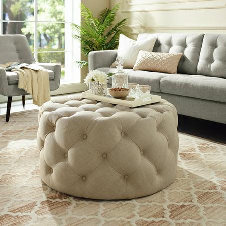 Enjoyable Tracy Beige Linen Cocktail Ottoman Allover Tufted Round Short Links Chair Design For Home Short Linksinfo