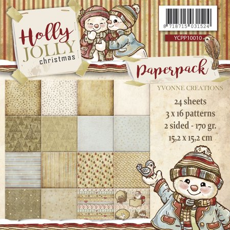 """Find It Trading Yvonne Creations Paper Pack 6""""X6"""" 24/Pkg-Holly Jolly, Double-Sided Designs"""