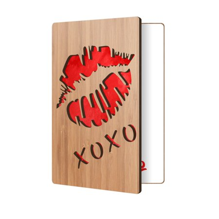 Greeting Card For Him, Or Her: Handmade Lips Design In Real Wood; Wooden Love Cards Are A Great Gift For Anniversary, Valentine's For Husband Or Wife, Or Just Because (Halloween Cards For Him)