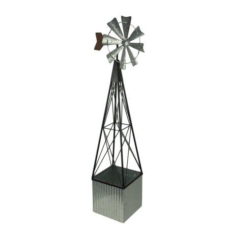 Galvanized Metal Farmhouse Windmill Trellis with Planter Box