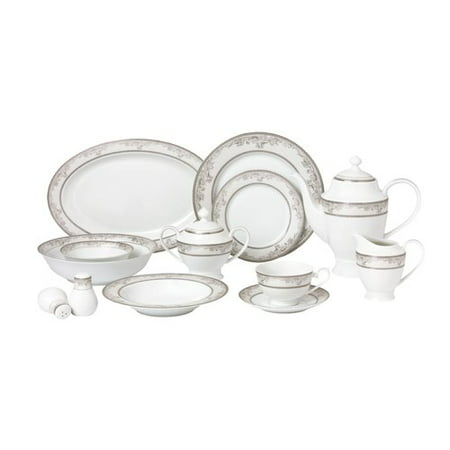 - Lorren Home Trends La Luna Bone China 57 Piece Dinnerware Set, Service for 8