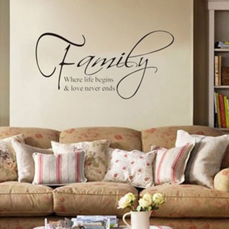 Family Wall Sticker Quote Words Removable DIY Decal Art Elegant Home Decor