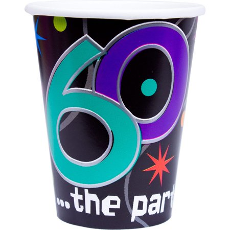Over the Hill 'The Party Continues' 60th Birthday 9oz Paper Cups (8ct) - 60th Birthday Decor