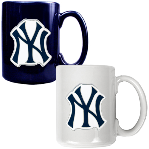 New York Yankees 15oz. Coffee Mug Set - Navy/White - No Size