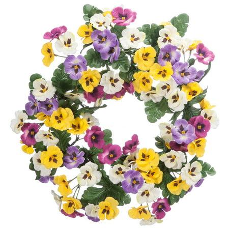 "Colorful Pansy Wreath by OakRidge™, 14"" Diameter, Silk Floral Home Décor - Silk Flower Wreaths"