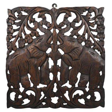 Aeravida Thai Elephant Calves Handmade Teak Wood Wall Art