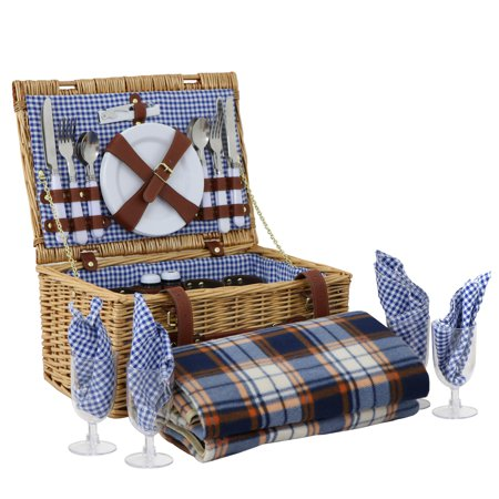 Zeny 4 Person Wicker Picnic Basket W/ Cutlery,Plates,Glasses,Tableware & Blanket - Picnic Baskets Wholesale