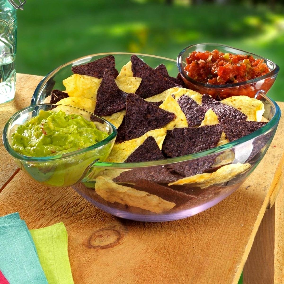 3pc Plastic Chip N' Dip Serving Bowls Set Snack Dishes Appetizers Sauces Parties