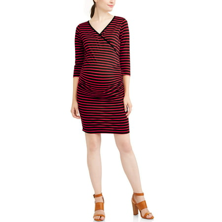 Planet MotherhoodMaternity 3/4 sleeve nursing friendly striped midi dress