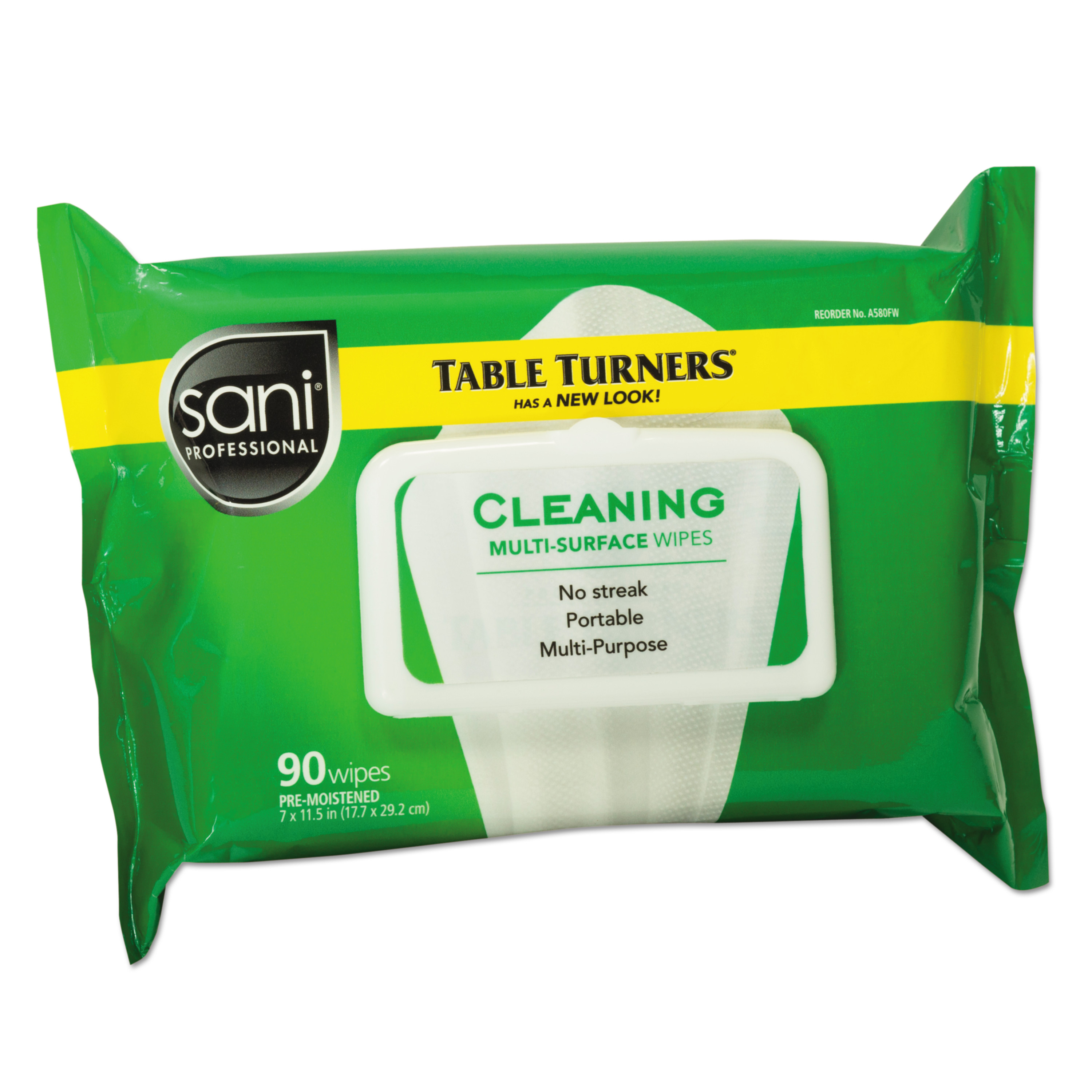 Sani Professional White Table Turner Wet Wipes, 80 count, (Pack of 12)