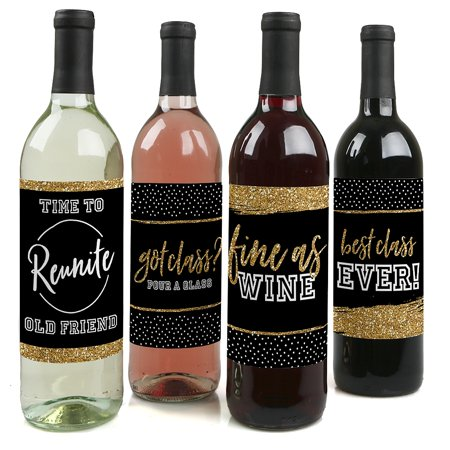 Reunited - School Class Reunion Party Party Decorations for Women and Men - Wine Bottle Label Stickers - Set of 4 - Class Reunion Decorations