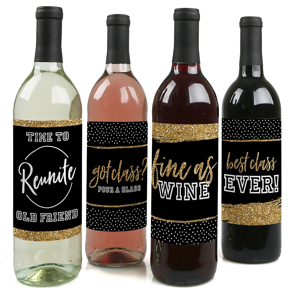 Reunited - School Class Reunion Party Wine Bottle Label Stickers - Set of 4
