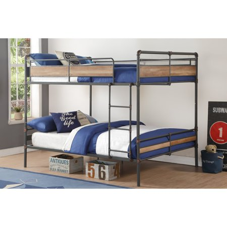 Acme Brantley Ii Queen Over Queen Bunk Bed In Sandy Black Dark