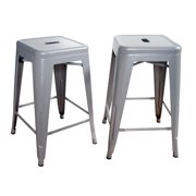AmeriHome Loft Silver 24 Inch Metal Bar Stool 2 Piece by Buffalo Corp