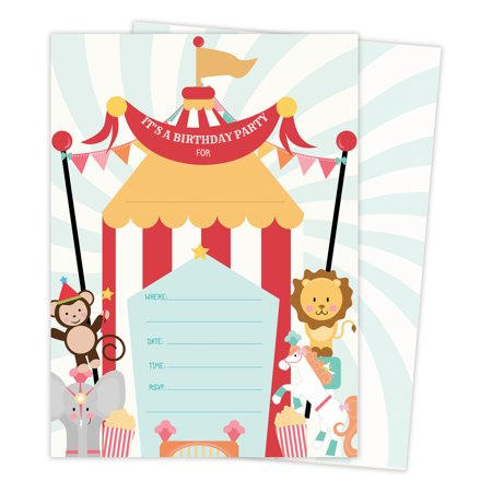 Carnival Circus Invitations Invite Cards (25 Count) with Envelopes & Seal Stickers Boys Girls Kids - Circus Tent Invitations