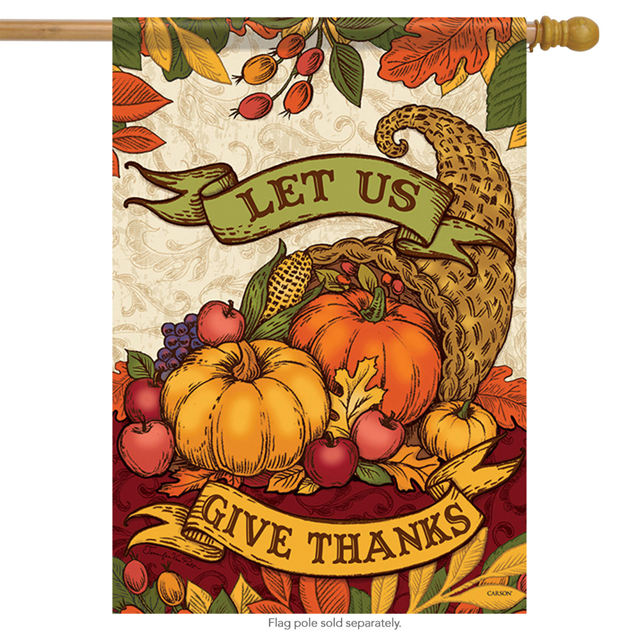 "Vintage Thanks Thanksgiving House Flag Fall Harvest  Holiday Banner 28""  x 40"""