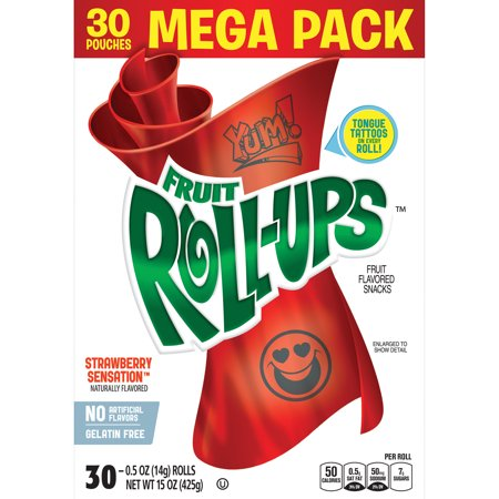Fruit Roll-Ups Strawberry Sensation Fruit Flavored Snacks Pouches, 0.5 Oz., 30 Count ()