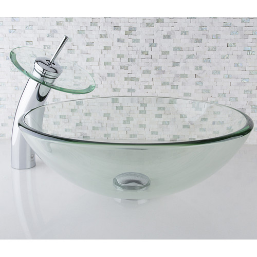 VIGO Crystalline Glass Vessel Sink and Waterfall Faucet Set, Chrome