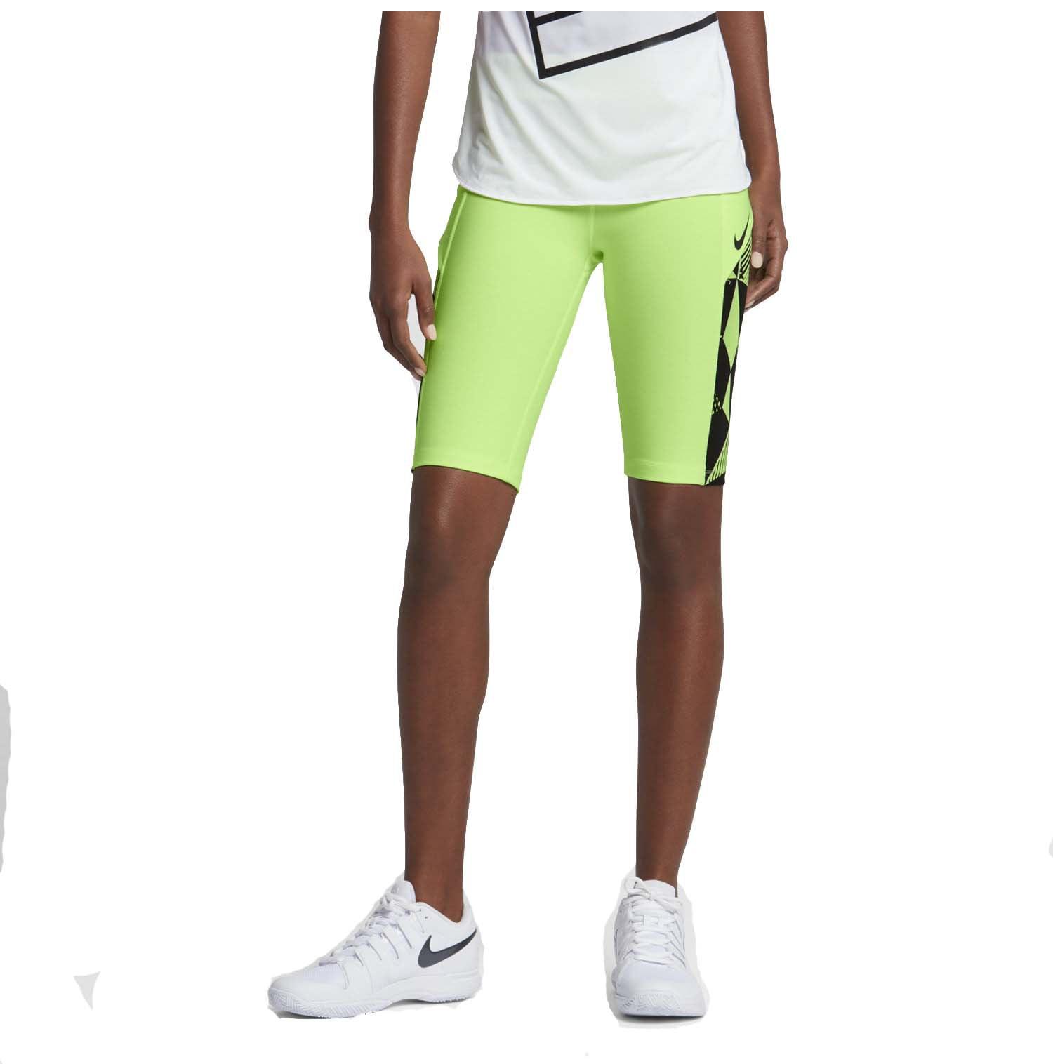 """Nike Women's 11"""" Baseline Tennis Shorts-Ghost Green Black by Nike"""