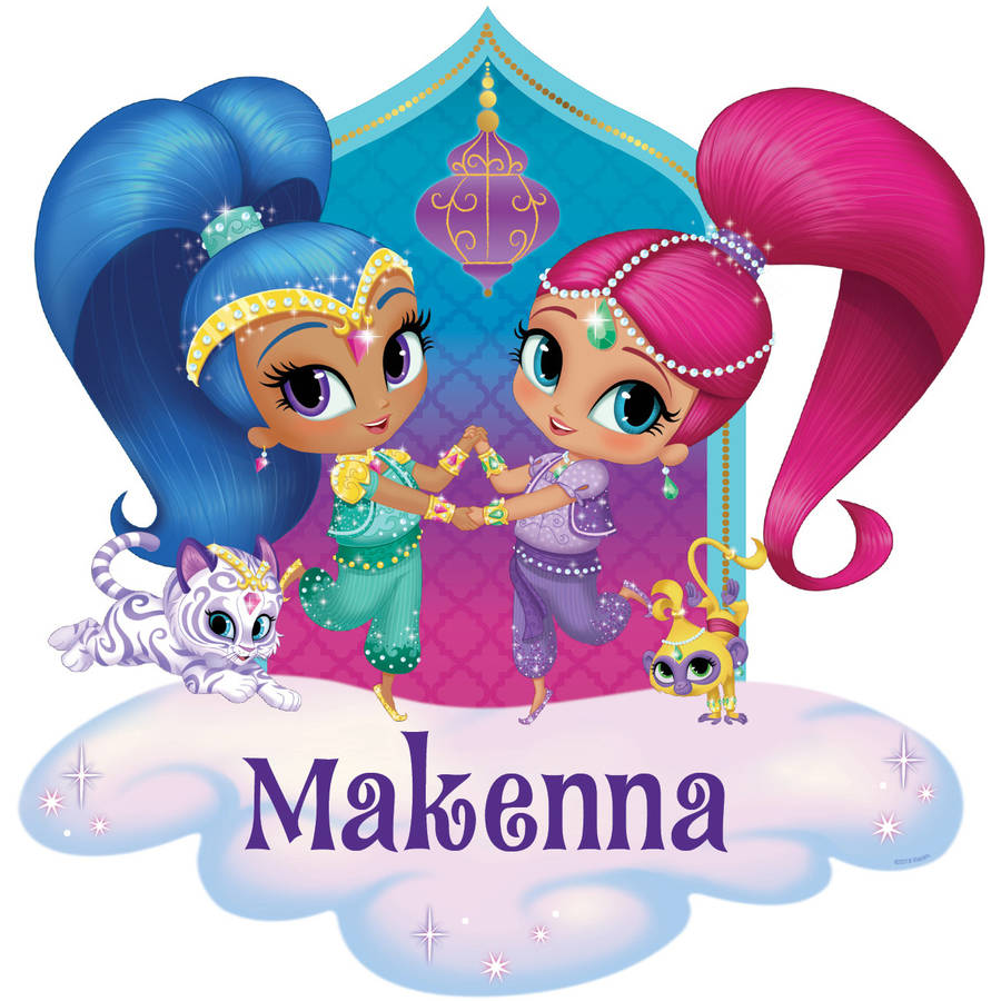 Personalized Shimmer and Shine Glitter Friends Easy-Move Canvas Decal, Pink