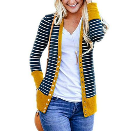 Long Seersucker Snap (Women's Long Sleeve Striped Snap Button V Neck Cardigans )