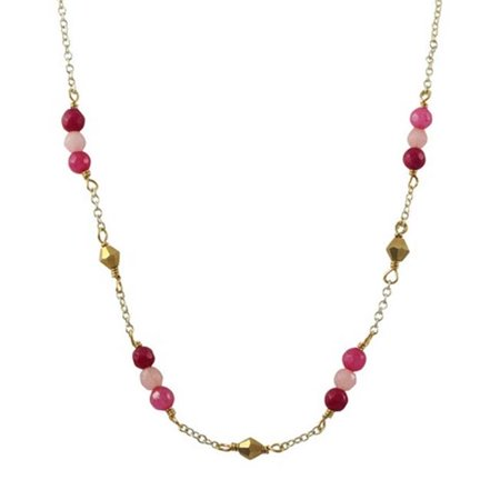 Garnet 4 mm Semi Precious Faceted Stones & Gold Diamond Shape Beads with Gold Plated Brass Chain Necklace