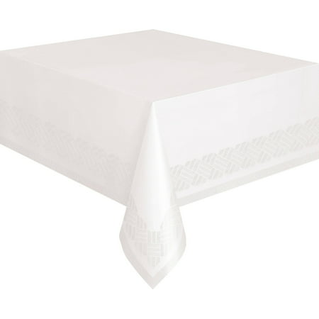 Plastic Lined Paper Tablecloth, 108 x 54 in, White, 1ct