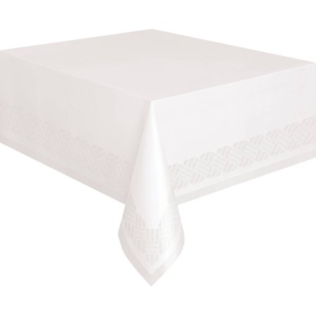 (6 pack) Unique Plastic Lined Paper Tablecloth, 108 x 54 in, White, - Paper Wedding Tablecloths