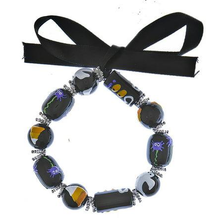 Halloween Beaded Bracelet: Black Beads - By Ganz (Ganz Halloween Jewelry)