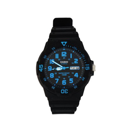 Men's Sport Analog Blue-Accented Dive Watch, Black Resin Strap