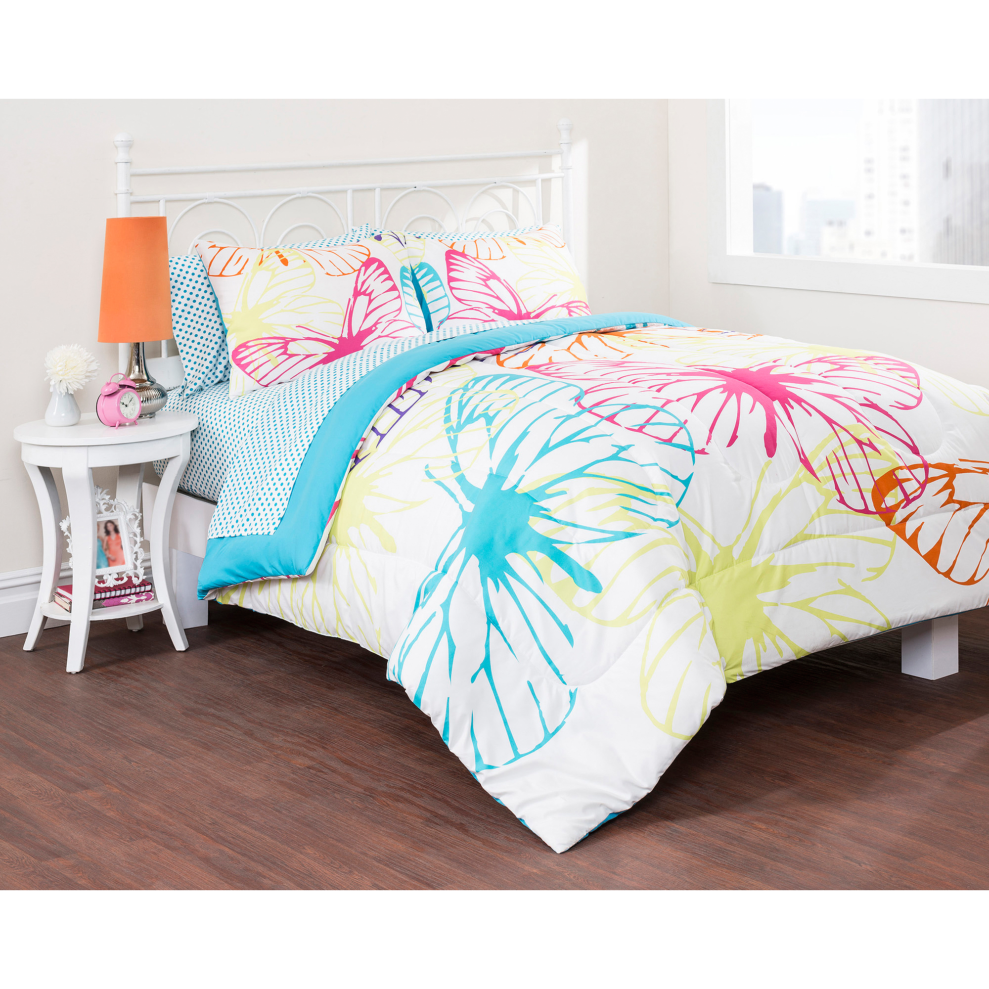 pink butterfly bedroom latitude butterfly silhouette bed in a bag bedding set 12858