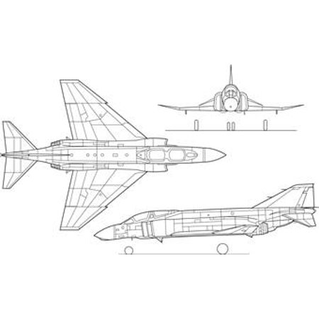 LAMINATED POSTER 3-side view of an McDonnell F-4C Phantom II fighter. The U.S. Navy F-4B/N was similar, as was the F- Poster Print 24 x 36