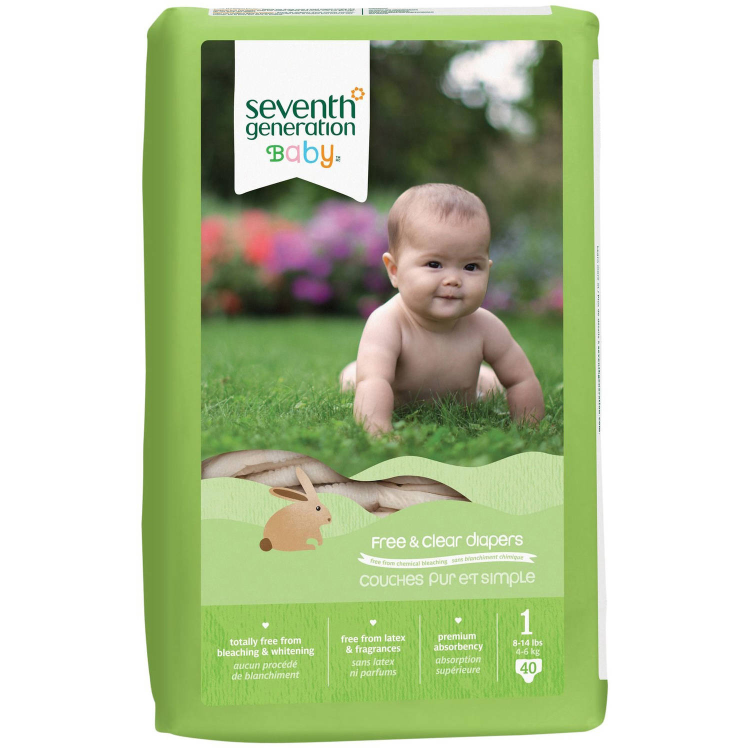 Seventh Generation Baby Free & Clear Diapers, Size 1, 160 Diapers (4 Packs of 40)