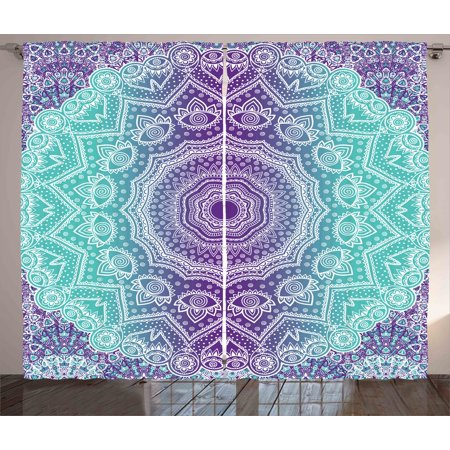 Purple and Turquoise Curtains 2 Panels Set, Hippie Ombre Mandala Inner Peace and Meditation with Ornamental Art, Window Drapes for Living Room Bedroom, 108W X 84L Inches, Purple Aqua, by Ambesonne